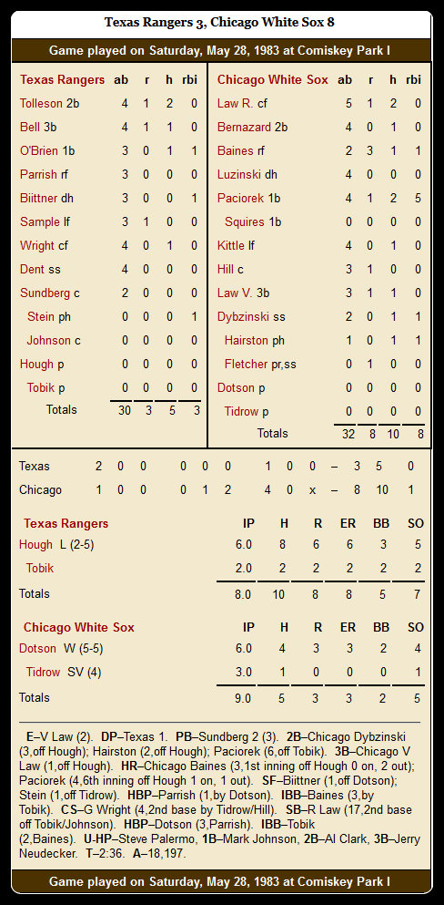 White Sox vs. Rangers — May 28, 1983