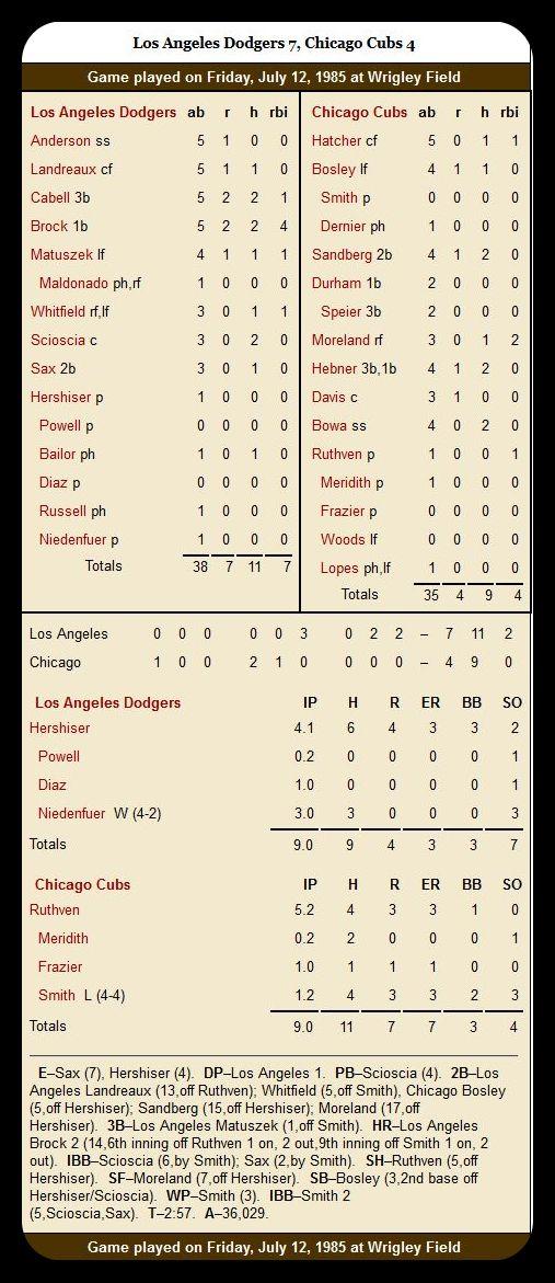 Cubs vs. Dodgers — July 12, 1985