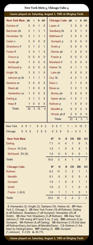 Cubs vs. Mets — August 3, 1985