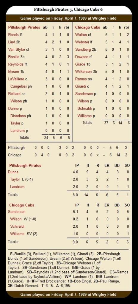 Cubs vs. Pirates — April 7, 1989