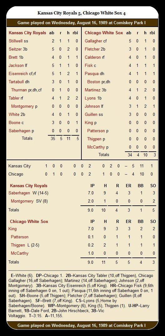White Sox vs. Royals — Auguts 16, 1989