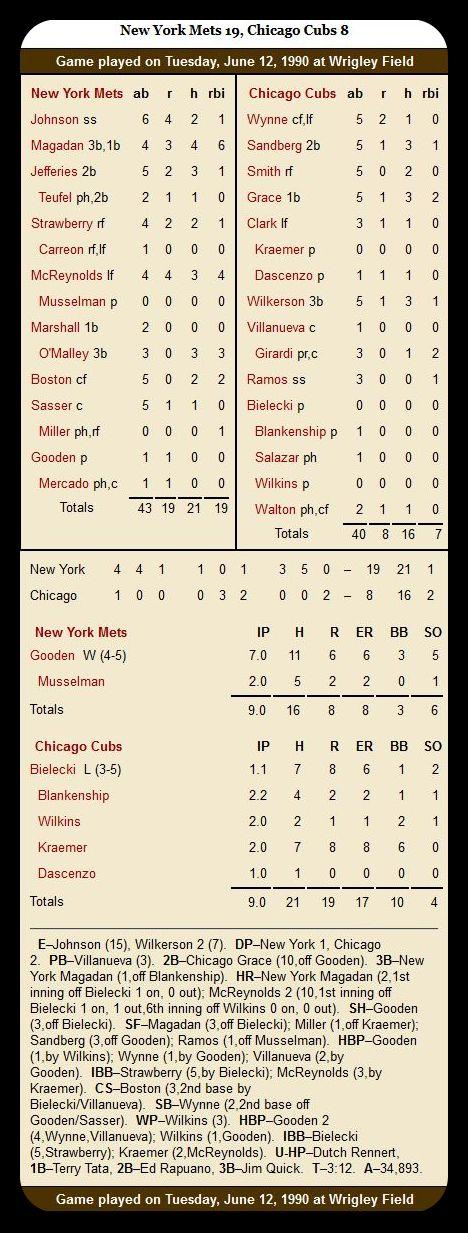 Cubs vs. Mets — June 12, 1990