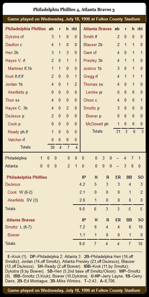 Braves vs. Phillies — July 18, 1990