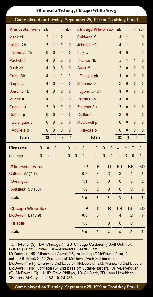 White Sox vs. Twins — September 25, 1990