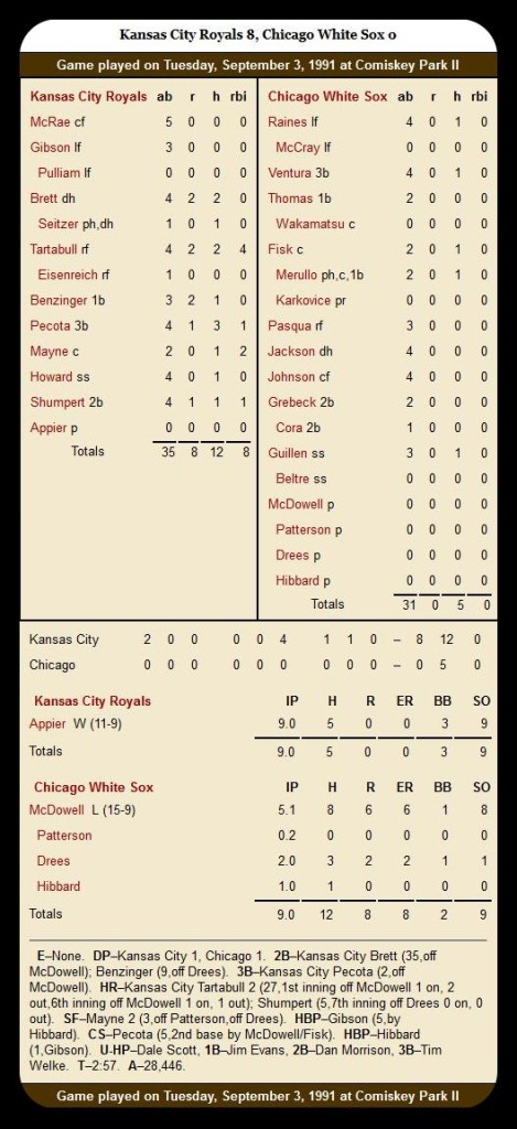 White Sox vs. Royals — September 3, 1991