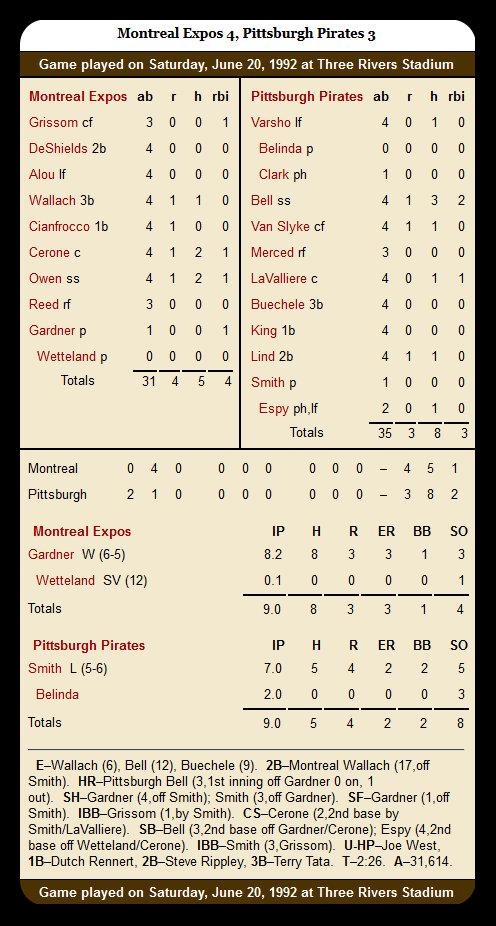 Pirates vs. Expos — June 20, 1992