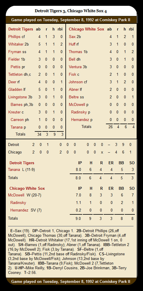 White Sox vs. Tigers — September 8, 1992 (2)