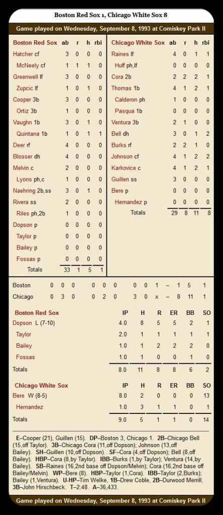 White Sox vs. Red Sox — September 8, 1993