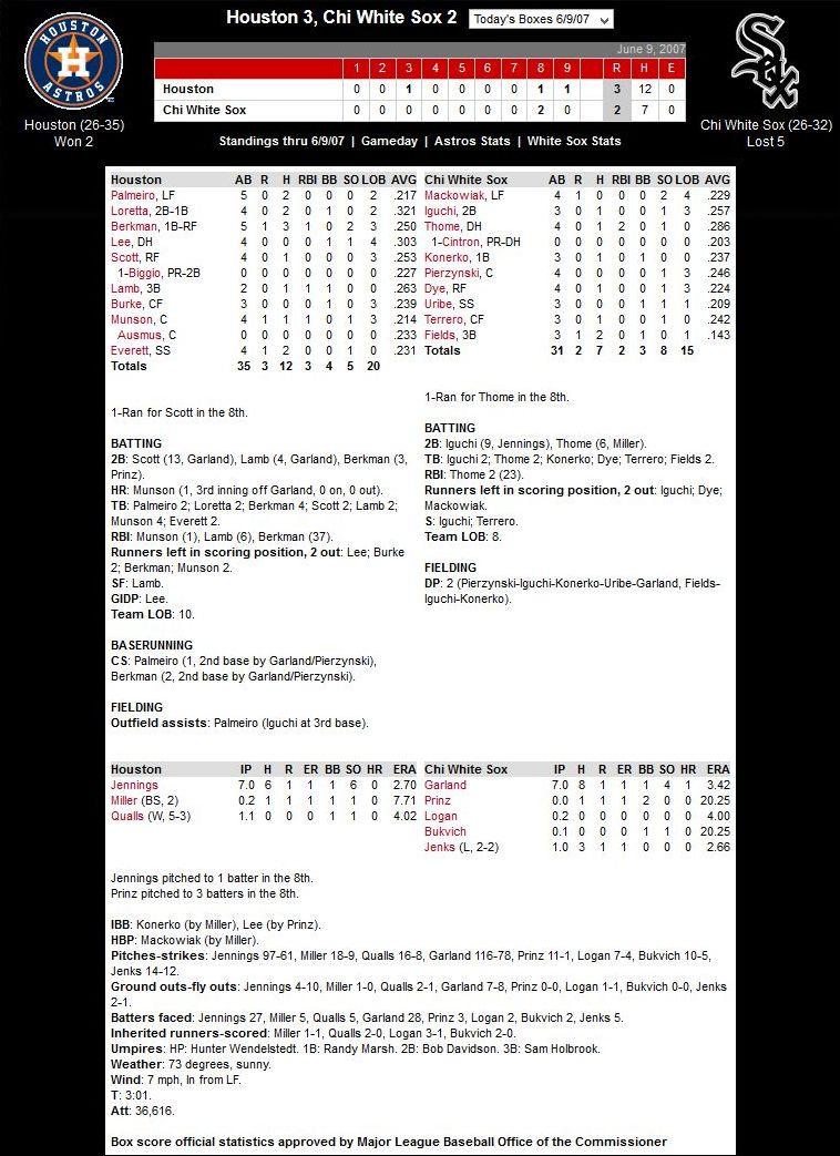 White Sox vs. Astros — June 9, 2007
