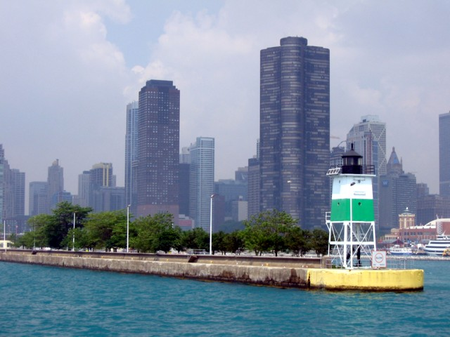 Chicago Harbor Southeast Guidewall Light with Lake Point Tower in the background