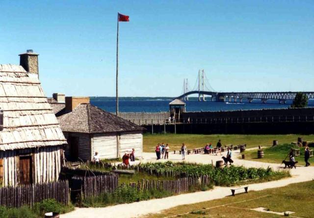 Fort Michilimackinac and the Mackinac Bridge