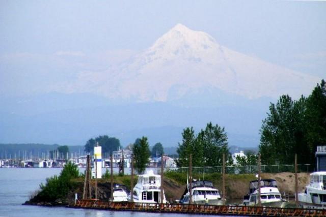 Mount Hood from Hayden Island, Portland, Oregon