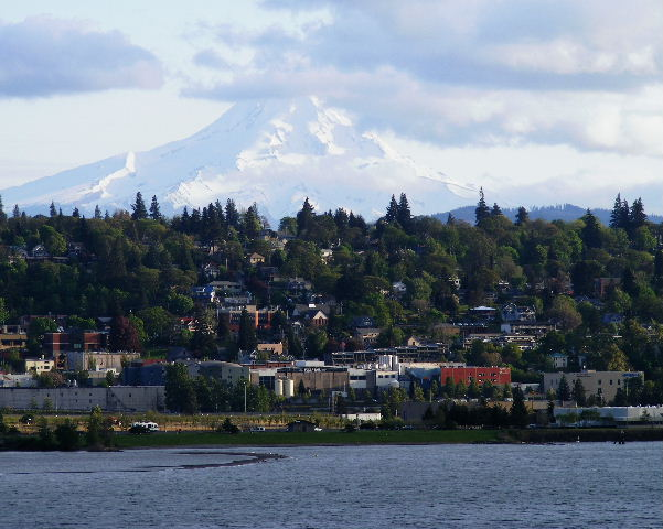 Mount Hood and Hood River, Oregon from across the Columbia River in Washington