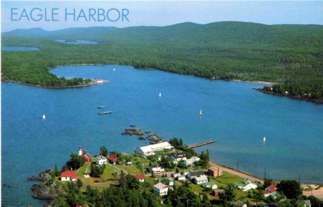 Eagle Harbor with the lighthouse lower left and the channel markers in the harbor mouth