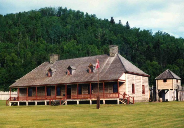 Great Hall at Grand Portage National Historic Site. Mt. Rose is in the background.